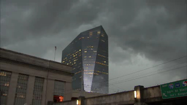 The Action Cam captured dark clouds moving in outside 30th Street Station.