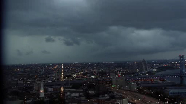 The Action Cam captured dark clouds moving in over Center City Philadelphia.