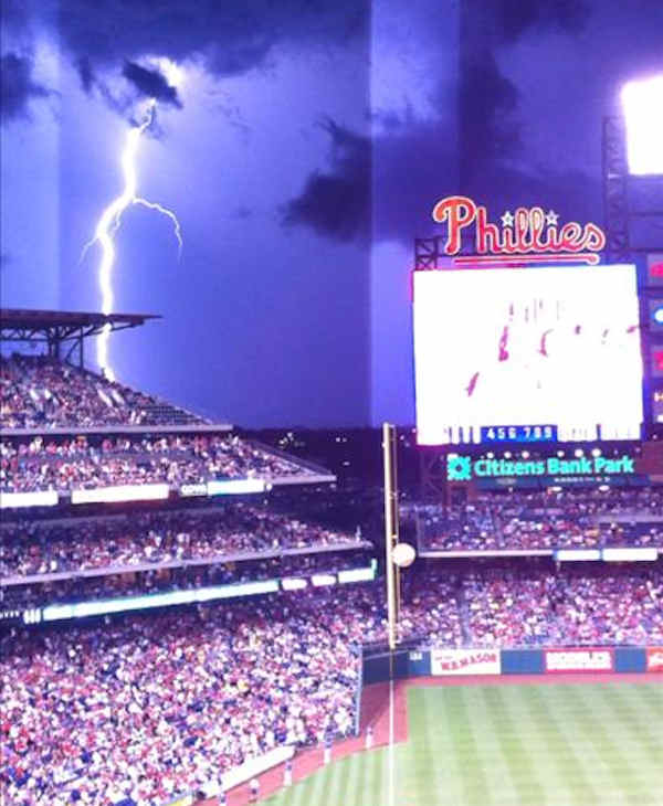 "<div class=""meta ""><span class=""caption-text "">Pat Coyle submitted this photo through sendit.6abc.com of a lightning strike at Thursday night's Phillies game. </span></div>"