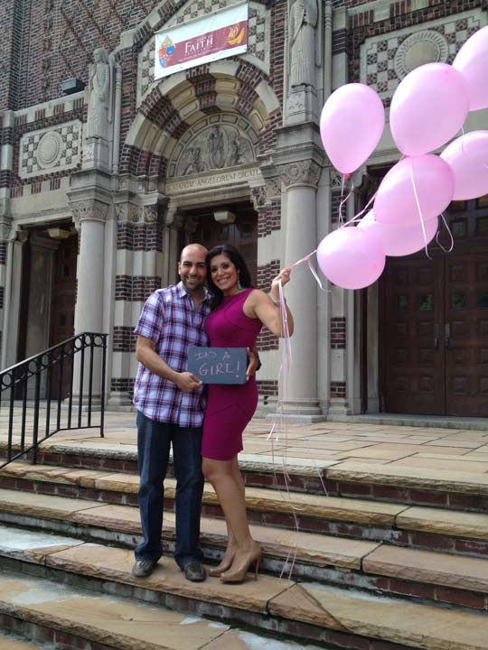 "<div class=""meta ""><span class=""caption-text "">Alicia and her husband Matt visit Our Lady of Angels in Bay Ridge, Brooklyn, the church where they got married. This is where they found out the gender of their baby - a girl!</span></div>"