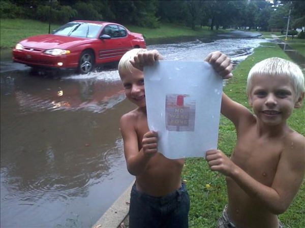 Submitted through sendit.6abc.com: Robert and Patrick Kane play around in Stonybrook section of Levittown with Sunday's deluge