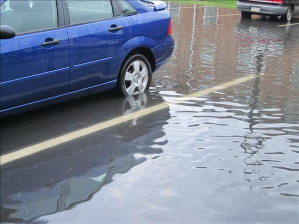 Submitted through sendit.6abc.com:  Quakertown, PA parking lot flooding 8/21/11