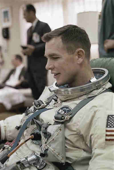 Astronaut Neil A. Armstrong at Complex 19 for a simulated test in preparation for flight, March 16, 1966. (AP Photo)