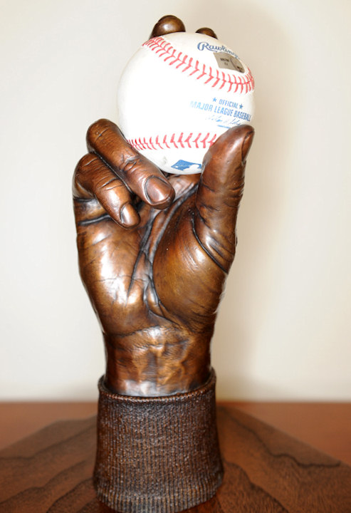 The Roy Halladay hand sculpture was presented to the pitcher for his May 29th perfect game. <span class=meta>(The Phillies&#47;Miles Kennedy)</span>