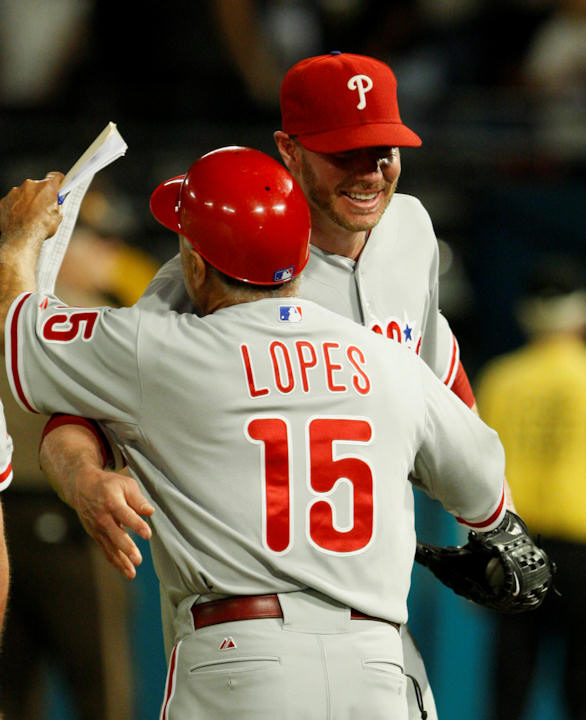 "<div class=""meta ""><span class=""caption-text "">Philadelphia Phillies starting pitcher Roy Halladay is hugged by first base coach Davey Lopes after he threw a perfect game during a baseball game against the Florida Marlins, Saturday, May 29, 2010 in Miami. The Phillies defeated the Marlins 1-0. (AP Photo/Wilfredo Lee)</span></div>"