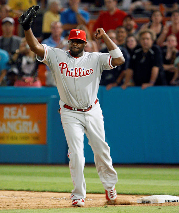 Philadelphia Phillies first baseman Ryan Howard celebrates at the last out after pitcher Roy Halladay threw a perfect baseball game against the Florida Marlins, Saturday, May 29, 2010, in Miami. The Phillies defeated the Marlins 1-0.  <span class=meta>(AP Photo&#47;Wilfredo Lee)</span>