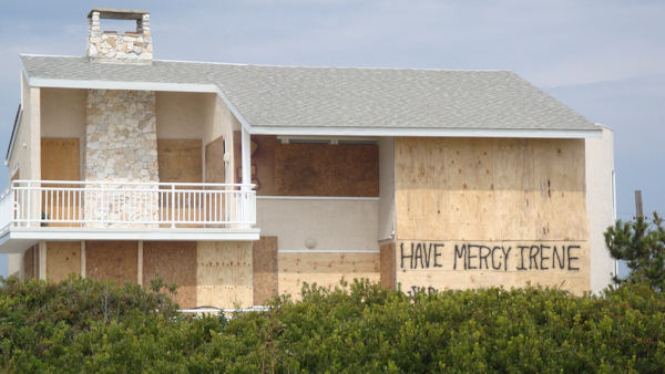 Action News viewer Mike Campitelli sent in this photo of his house in Strathmere after they boarded it up.