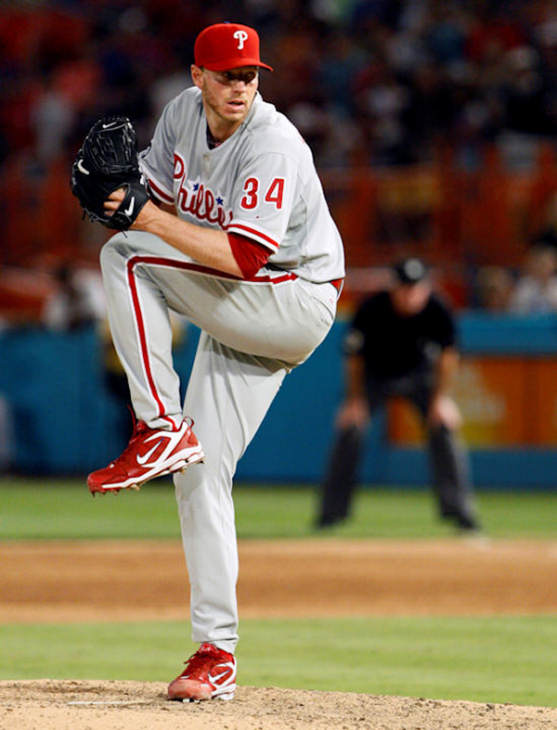 Philadelphia Phillies starting pitcher Roy Halladay throws a pitch in the ninth inning of a baseball game against the Florida Marlins, Saturday, May 29, 2010 in Miami. Halladay threw a perfect game as the Phillies defeated the Marlins 1-0. <span class=meta>(AP Photo&#47;Wilfredo Lee)</span>