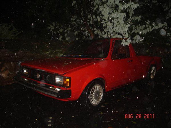 Volkswagen pick-up crushed from effects of Hurrican Irene on Steinmetz rd. in Limerick PA.  Viewer photo of damage from Hurricane Irene submitted through sendit.6abc.com