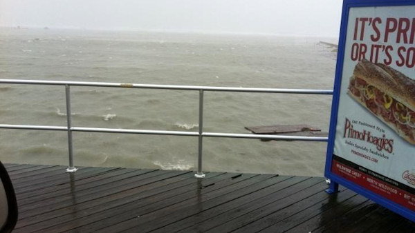 "An Action News viewer sent in this photo saying, ""Water Reaches Wildwood Boardwalk."""