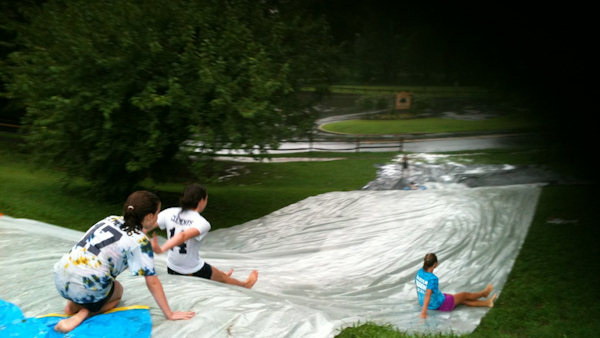 "An Action News viewer sent in this photo saying ""Slip and sliding during hurricane Irene at dead mans hill in haddon heights nj!"""