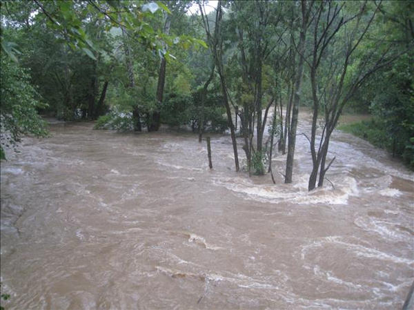 Pennypack Creek at Veree Rd.   Viewer photo of damage from Hurricane Irene submitted through sendit.6abc.com