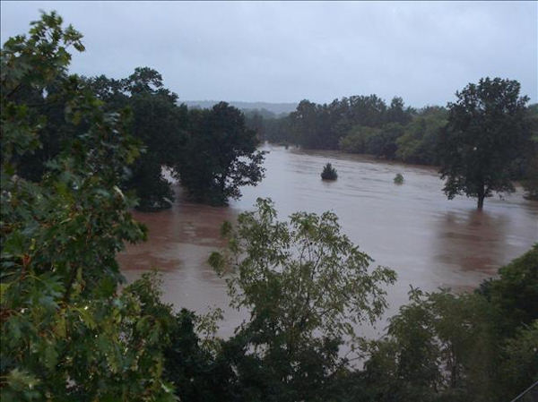 This is the view from our 3rd floor balcony looking over the Whitemarsh Valley Golf Club, Whitemarsh, PA. This is the golf course with waves on it.  Viewer photo of damage from Hurricane Irene submitted through sendit.6abc.com