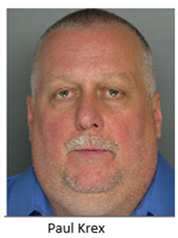 Paul Krex 55 YOA 1600 blk Hollandale Dr Bensalem - 3rd degree Felony Charges Theft, Conspiracy, Receiving Stolen Property Bail $50,000 unsecured