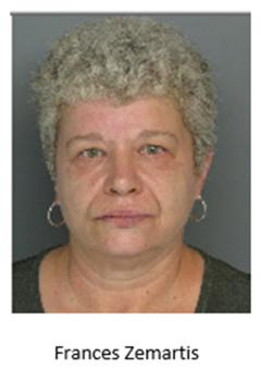 Frances Zemartis 55 YOA 6200 Blk Craig Ave Bensalem-  1st degree Misdemeanor Charges Theft, Conspiracy, Receiving Stolen Property Bail $25,000 unsecured