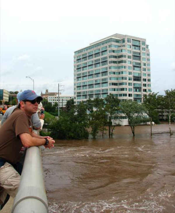 Pictures from the Schuylkill River flood around Conshohocken.  Russell H. looks on as the Schuylkill River flood reaches its crest on Sunday.  Viewer photo of damage from Hurricane Irene submitted through sendit.6abc.com