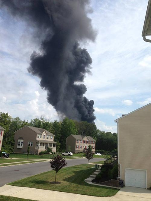 Viewer Greg Foley snapped this photo of the Dietz & Watson fire from his New Jersey home.