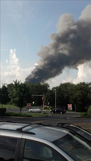 Viewer Mike Barton of Philadelphia sent us this photo of the Delanco, New Jersey warehouse fire