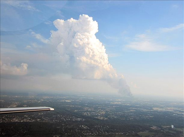 Mike and Kathy snapped this view of Dietz & Watson warehouse fire from 2,000 feet above the ground near Langhorne PA.