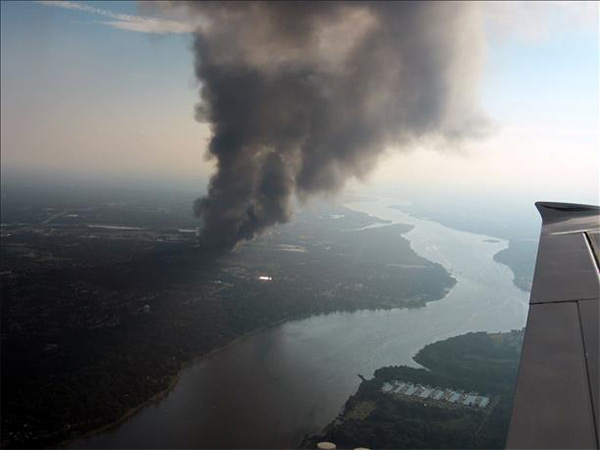 "<div class=""meta ""><span class=""caption-text "">Mike and Kathy snapped this view of Dietz & Watson warehouse fire from 2,000 feet above the ground near Langhorne PA.</span></div>"