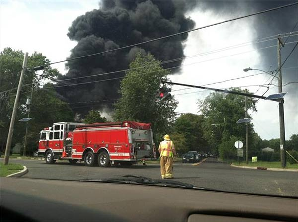 Amy Wilson snapped this photo of the Delanco, New Jersey warehouse fire