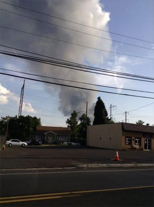 Robert Kintzell tweeted us this view of the Dietz & Watson warehouse fire from Croyden, Pa.