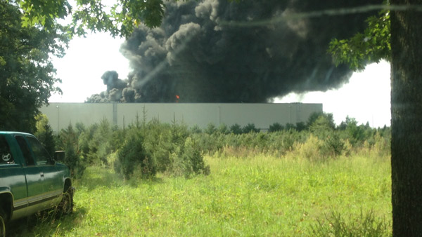 Viewer Dennis sent in this photo of the Dietz & Watson warehouse fire in Delanco, N.J.  on September 1, 2013.