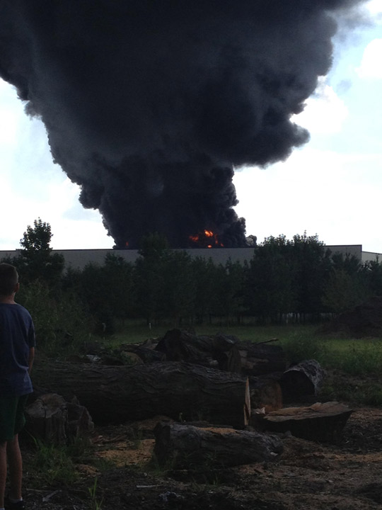 Viewer photo of the Dietz & Watson warehouse fire in Delanco, N.J.  on September 1, 2013.