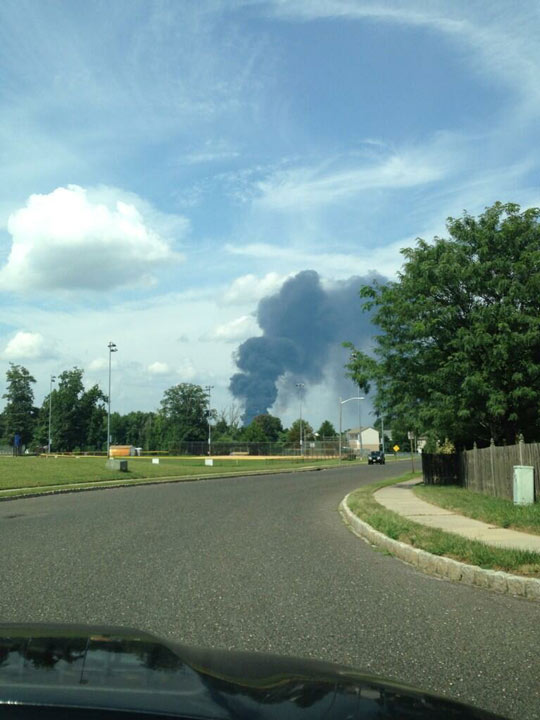 Viewer Michelle sent in this photo of the Dietz & Watson warehouse fire in Delanco, N.J.  on September 1, 2013.