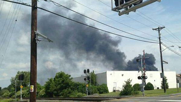 "<div class=""meta ""><span class=""caption-text "">Viewer Stephanie sent in this photo of the Dietz & Watson warehouse fire in Delanco, N.J.  on September 1, 2013.</span></div>"