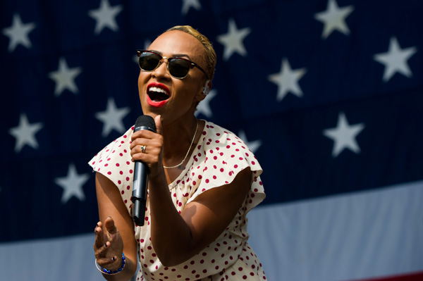 Emeli Sande performs on day one of the 2013 Budweiser Made in America Festival on Saturday, Aug. 31, 2013 in Philadelphia, PA. (Photo by Charles Sykes/Invision/AP)