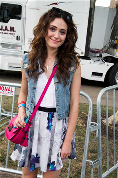 "Actress Emmy Rossum attends the ""Made In America"" music festival on Saturday, Sept. 1, 2012, in Philadelphia. (Photo by Charles Sykes/Invision/AP)"