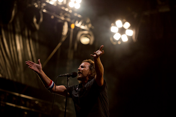 "Pearl Jam performs at the ""Made In America"" music festival on Sunday Sept. 2, 2012, in Philadelphia. (Photo by Drew Gurian/Invision/AP)"