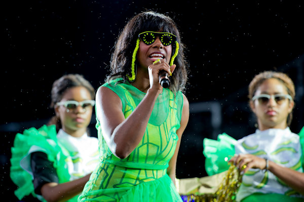 "Santigold performs at the ""Made In America"" music festival on Sunday Sept. 2, 2012, in Philadelphia. (Photo by Drew Gurian/Invision/AP)"