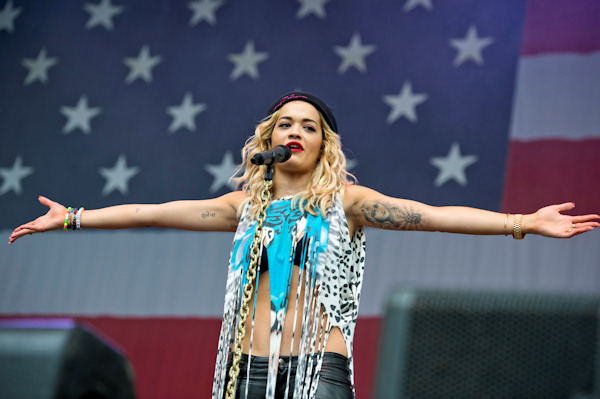 "Rita Ora performs at the ""Made In America"" music festival on Sunday Sept. 2, 2012, in Philadelphia. (Photo by Drew Gurian/Invision/AP)"