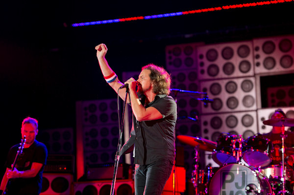 "Pearl Jam performing at the ""Made In America"" music festival on Sunday Sept. 2, 2012, in Philadelphia. (Photo by Drew Gurian/Invision/AP)"