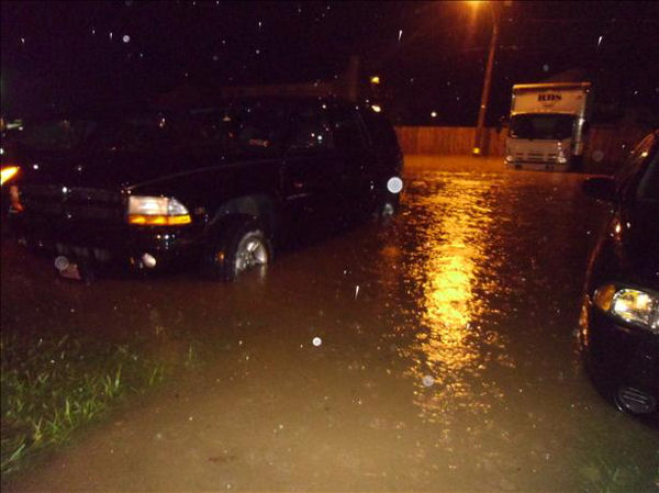 This viewer submitted picture shows the flooded parking lot of Franklin Commons in Bensalem, Bucks County.