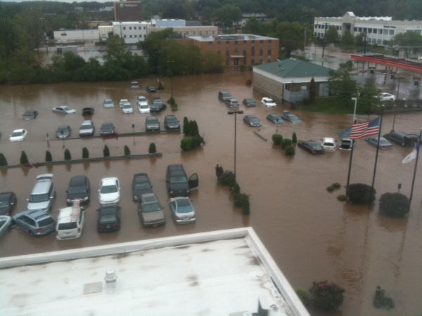 Daryle Powers of Charlotte, North Carolina sent us pictures of the flooding in and around the Hilton Garden Inn, located right off Route 309 in Fort Washington, Montgomery County.