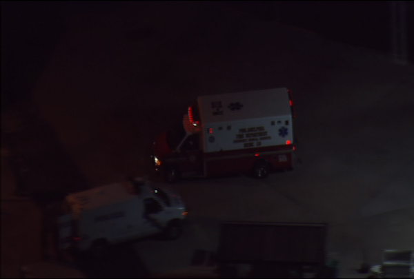 An ambulance makes its way to the scene of a fatal shooting at the Kraft Foods plant in Northeast Philadelphia on September 9, 2010.