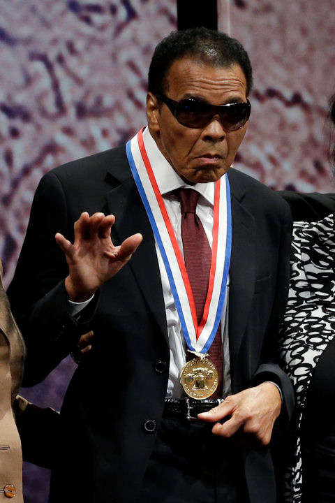 "<div class=""meta ""><span class=""caption-text "">Retired boxing champion Muhammad Ali waves after he received the Liberty Medal for his humanitarian work, during a ceremony at the National Constitution Center, Thursday, Sept. 13, 2012, in Philadelphia. (AP Photo/Matt Rourke)  </span></div>"