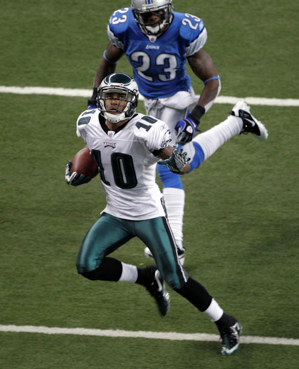 "<div class=""meta image-caption""><div class=""origin-logo origin-image ""><span></span></div><span class=""caption-text"">Philadelphia Eagles wide receiver DeSean Jackson scores a touchdown on a 45-yard reception from Michael Vick against the Detroit Lions in the first quarter of an NFL football gamein Detroit, Sunday, Sept. 19, 2010. (AP Photo/Paul Sancya)</span></div>"