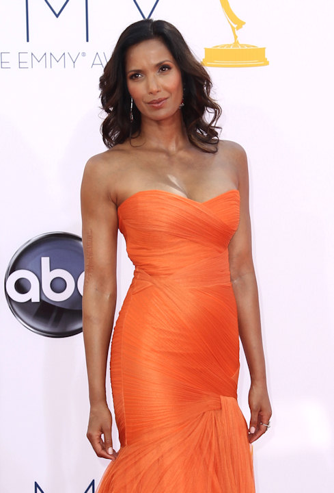Celebrity chef Padma Lakshmi arrives at the 64th Primetime Emmy Awards at the Nokia Theatre on Sunday, Sept. 23, 2012, in Los Angeles. (Photo by Matt Sayles/Invision/AP)