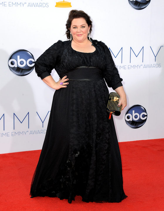"<div class=""meta image-caption""><div class=""origin-logo origin-image ""><span></span></div><span class=""caption-text"">Actress Melissa McCarthy arrives at the 64th Primetime Emmy Awards at the Nokia Theatre on Sunday, Sept. 23, 2012, in Los Angeles. (Photo by Jordan Strauss/Invision/AP) </span></div>"