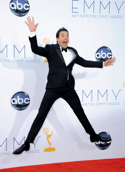 Jimmy Fallon arrives at the 64th Primetime Emmy Awards at the Nokia Theatre on Sunday, Sept. 23, 2012, in Los Angeles. (Photo by Jordan Strauss/Invision/AP)