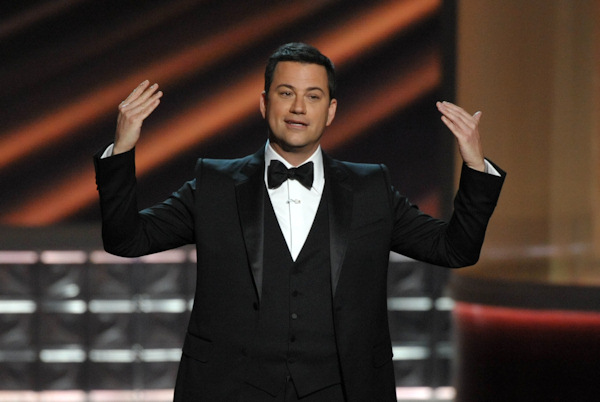 "<div class=""meta ""><span class=""caption-text "">Host Jimmy Kimmel speaks onstage at the 64th Primetime Emmy Awards at the Nokia Theatre on Sunday, Sept. 23, 2012, in Los Angeles. (Photo by John Shearer/Invision/AP) </span></div>"
