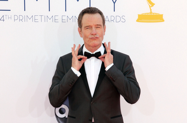 "Bryan Cranston arrives at the 64th Primetime Emmy Awards at the Nokia Theatre on Sunday, Sept. 23, 2012, in Los Angeles. Cranston is nominated for best actor is a drama series for his role as Walter White ""Breaking Bad."" (Photo by Matt Sayles/Invision/AP)"