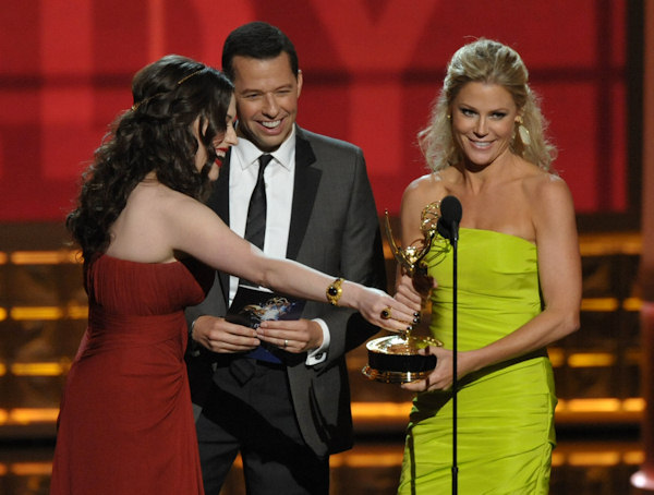 "<div class=""meta image-caption""><div class=""origin-logo origin-image ""><span></span></div><span class=""caption-text"">Kat Dennings, left, and Jon Cryer, center, present the award for outstanding supporting actress in a comedy series to Julie Bowen for ""Modern Family"" at the 64th Primetime Emmy Awards at the Nokia Theatre on Sunday, Sept. 23, 2012, in Los Angeles. (Photo by John Shearer/Invision/AP) </span></div>"