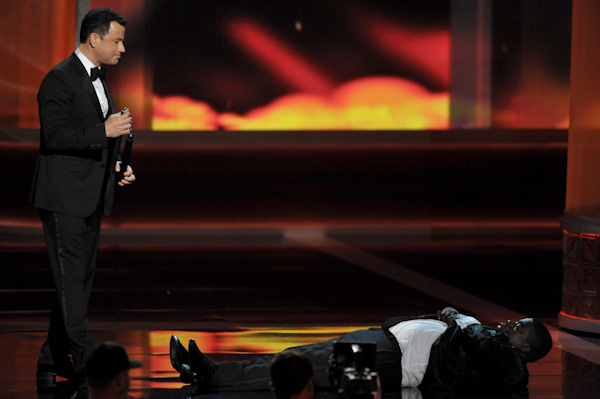 "<div class=""meta image-caption""><div class=""origin-logo origin-image ""><span></span></div><span class=""caption-text"">Host Jimmy Kimmel, standing, and Tracy Morgan perform onstage at the 64th Primetime Emmy Awards at the Nokia Theatre on Sunday, Sept. 23, 2012, in Los Angeles. (Photo by John Shearer/Invision/AP) </span></div>"
