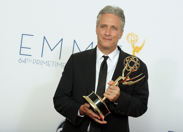 "Jon Stewart, winner Outstanding Varety Series for ""The Daily Show With Jon Stewart"", poses backstage at the 64th Primetime Emmy Awards at the Nokia Theatre on Sunday, Sept. 23, 2012, in Los Angeles. (Photo by Jordan Strauss/Invision/AP)"