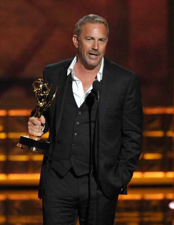 "<div class=""meta ""><span class=""caption-text "">Actor Kevin Costner, winner of the Outstanding Lead Actor In A Miniseries or Movie for ""Hatfields & McCoys"", speaks onstage at the 64th Primetime Emmy Awards at the Nokia Theatre on Sunday, Sept. 23, 2012, in Los Angeles. (Photo by John Shearer/Invision/AP) </span></div>"